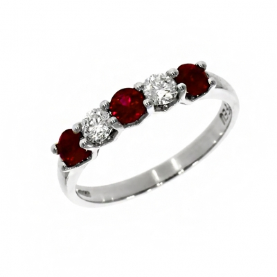 Platinum Ruby and Diamond Eternity Ring