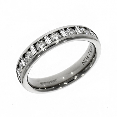 Platinum 0.63ct Brilliant And Baguette Cut Diamond Eternity Ring