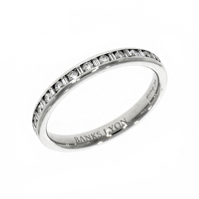 Platinum 0.31ct Brilliant And Baguette Cut Diamond Eternity Ring
