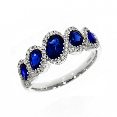 18ct White Gold 1.54ct Sapphire And Diamond Eternity Ring