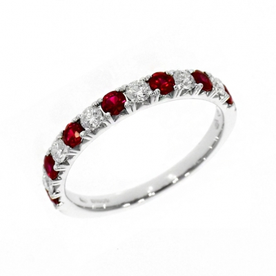18ct White Gold 0.52ct Ruby and Diamond Eternity Ring