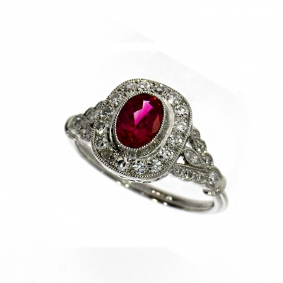 Pre Owned: Platinum Ruby And Diamond Ring