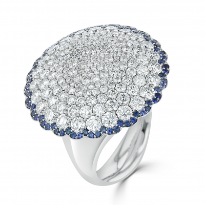 18ct White Gold 3.23ct Diamond and Sapphire Bloom Ring