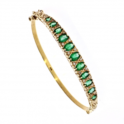 Pre Owned: 9ct Yellow Gold Emerald And Diamond Bangle