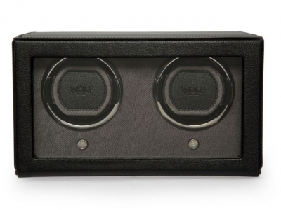 WOLF Black Double Cub Watch Winder with Cover