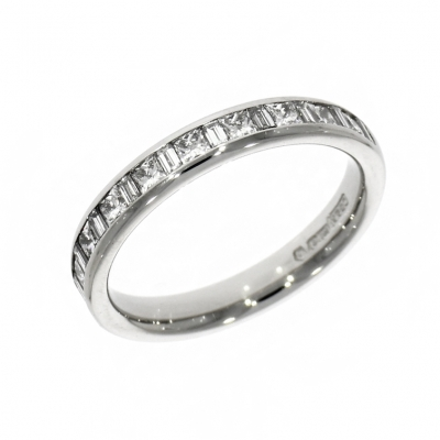 Platinum 0.40ct Princess And Baguette Cut Diamond Eternity Ring