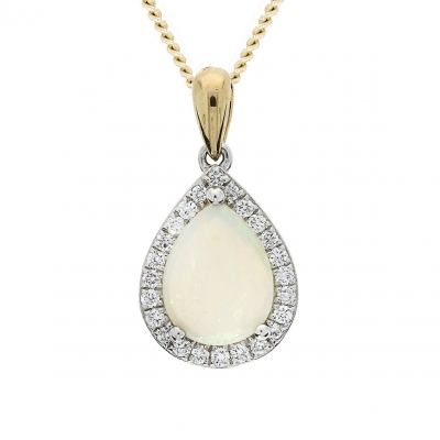 Pear Shaped En Cabochon Opal Pendant with Diamond Surround