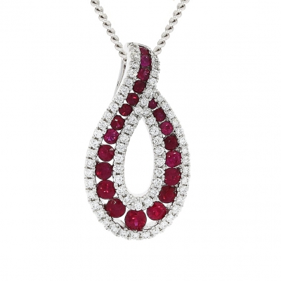 18ct White Gold Open Tear Drop Pendant with Rubies & Diamonds