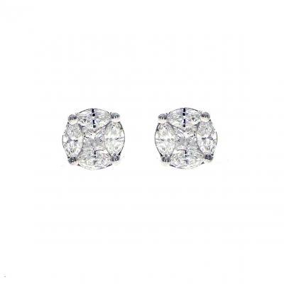 18ct White Gold 0.62ct Diamond Princess Cut and Marquise Cluster Earrings