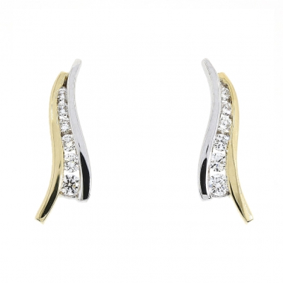 18ct Yellow & White Gold 0.20ct Diamond Wave Line Earrings
