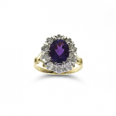 Pre Owned 18ct Yellow Gold Amethyst & Diamond Ring