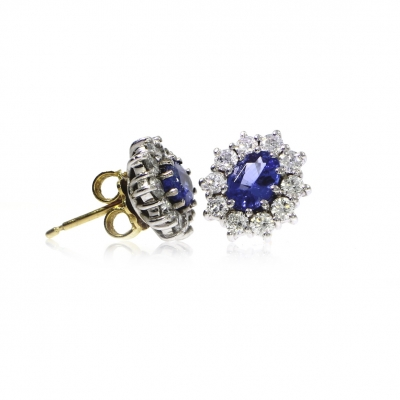 Pre Owned 18ct Yellow Gold Sapphire & Diamond Earrings