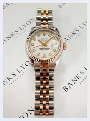 Pre Owned Rolex Steel & Rose Gold & Diamond Datejust Watch