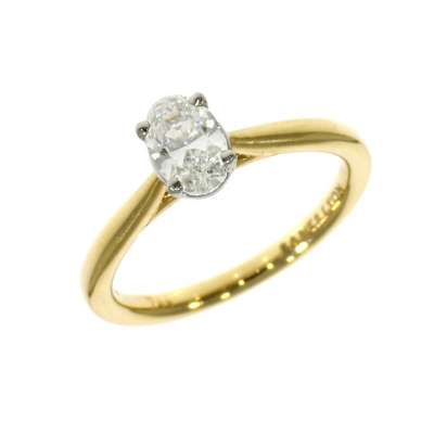 18ct Yellow Gold 0.59ct Oval Cut Diamond Solitaire Ring