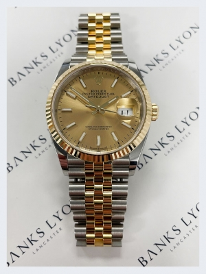 Pre Owned Rolex Datejust Steel & 18ct Yellow Gold 36mm