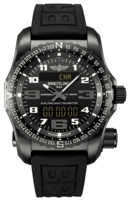 Breitling Emergency DLC-Coated Titanium - Rubber with Push Button Folding Clasp